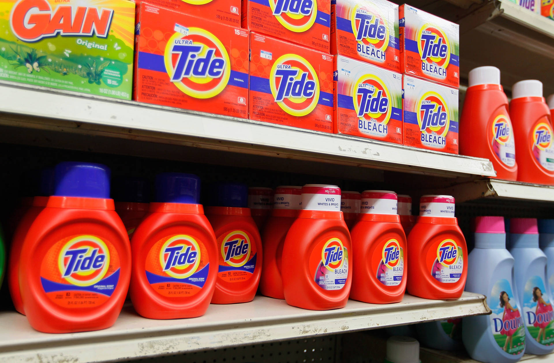 Laundry detergent on sale at a supermarket. Joe Raedle/Getty Images