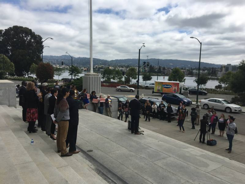 A representative from Assemblyman Rob Bonta's office attended National Mama's Bail Out Day to talk about AB42, which would overhaul California's bail system.