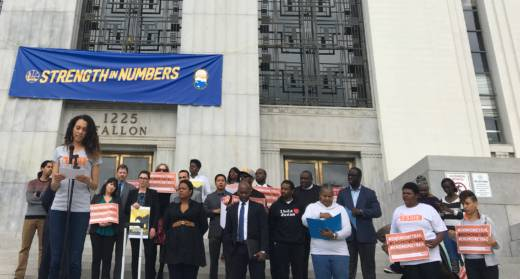 Black Lives Matter activists and members of Essie Justice Group gathered in front of Alameda's Superior Court for National Mama's Bail Out Day.