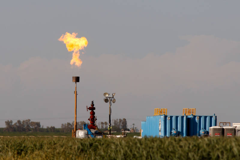 Gas flaring in an oil production area near Buttonwillow, in Kern County.