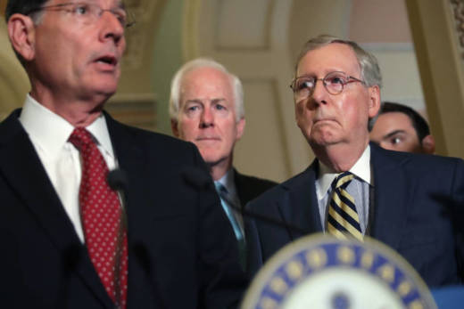 Three of the 13 senators in the health care working group. From left to right: Sen. John Barrosso (R-WY), Senate Majority Whip John Cornyn (R-TX)., and Senate Majority Leader Mitch McConnell (R-KY).