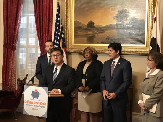 State Treasurer John Chiang and Senate President Kevin de Leon (second from right) announce plans to move ahead with a state retirement program.