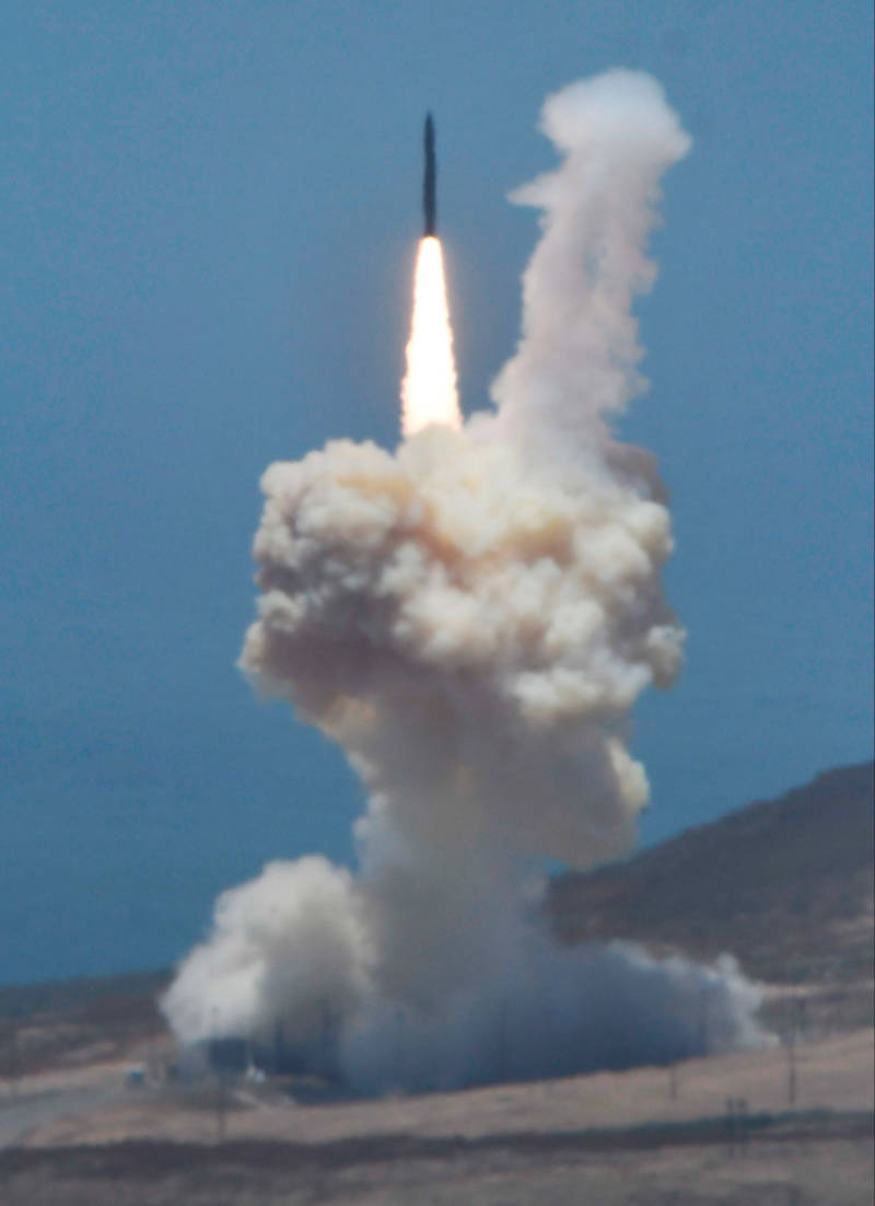 A rocket designed to intercept an intercontinental ballistic missile is launched from Vandenberg Air Force Base on Tuesday.