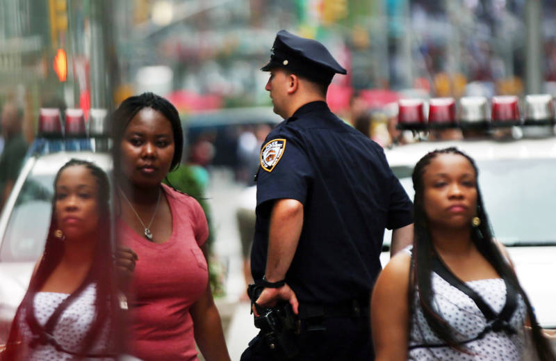 An NYPD officer on patrol in New York City.