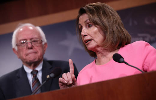 House Minority Leader Nancy Pelosi speaks at a press conference along with Vermont Sen. Bernie Sanders in response to President Trump's proposed budget on May 23, 2017.