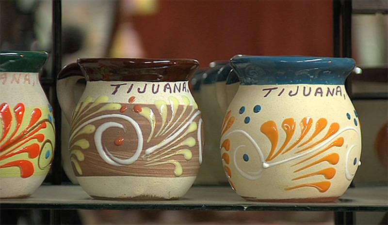 Ceramic mugs for sale at a shop in Tijuana.