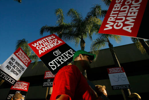 Writers Guild of America members and supporters picket in front of NBC studios during a strike in 2008.