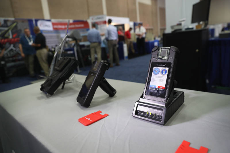 A biometric reader sits on display at the Border Security Expo on April 12, 2017 in San Antonio, Texas. The border expo brings together government officials and private sector firms promoting new technology, most of it for sale to the federal government.