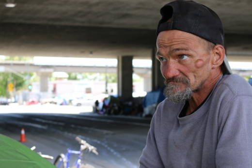 Jeffrey Hill's tent burned down in an encampment fire in late May 2017. The cause of the fire is not known. Hill calls his encampment at 5th and Brush streets a 'family,' but also says it has become harder to maintain order as the encampment has grown in size.