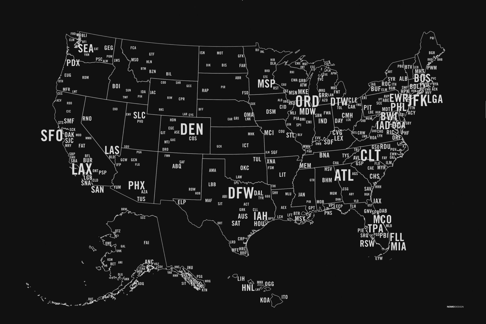 "Nearly 400 airport codes from around the United States. Text size is based on their number of enplanements.  Designed by <a href=""https://shop.nomodesign.com/collections/airport-runway-series/products/us-primary-airport-code-map-screen-print"" target=""_blank"">NOMO</a>"