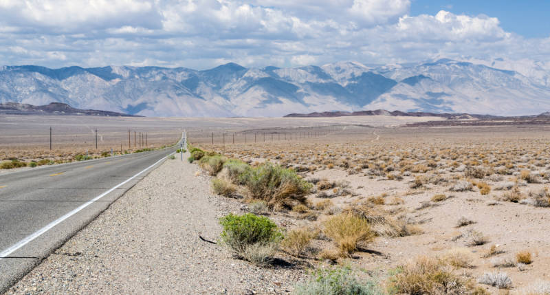 California State Route 190 near Panamint Springs Resort in Death Valley.
