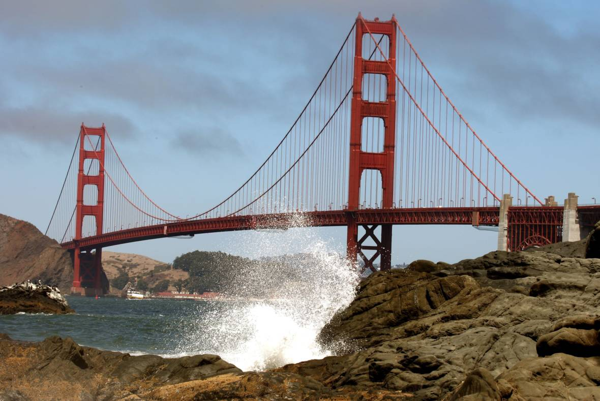 Waves Crash Against A Rock At Baker Beach Near The Golden Gate Bridge Aug 23 2007 In San Francisco Justin Sullivan Getty Images