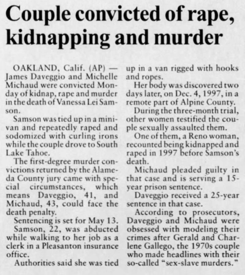 An article in the May 7, 2002, edition of of the Reno Gazette-Journal announces the conviction of James Daveggio and Michelle Michaud.
