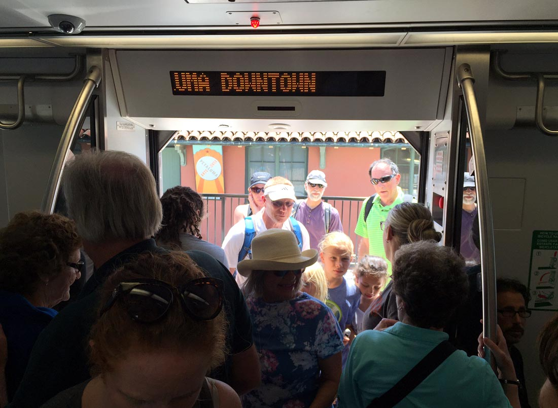 Passengers board a SMART Train car for a preview ride during a stop in Petaluma on June 29, 2017.