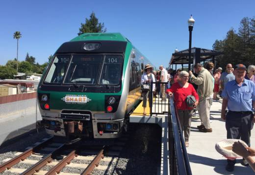 A SMART train awaits departure at the Rohnert Park station for a preview ride, June 29, 2017.
