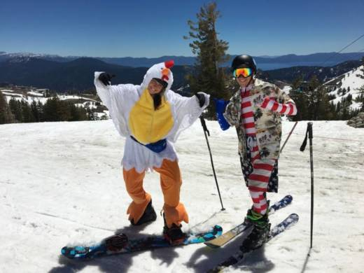 Chelsea Chestnut (L) and Will Mathews (R) pose at the top of Squaw Valley on an 80 degree day.