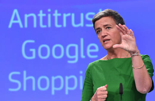 European Commissioner for Competition Margrethe Vestager gives a press conference on the antitrust case against Google in Brussels, on June 27, 2017.