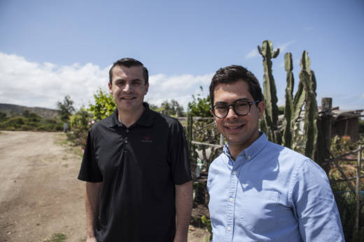 Brian Holley (L), and Miguel Marshall meet one mile away from the U.S.-Mexico border to talk about how President Trump's proposed border wall affects both of their businesses.
