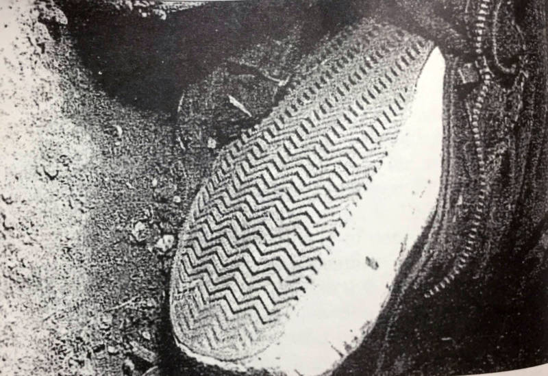 A crime scene photo showing one of the shoes Cassie Riley was wearing when she was killed.