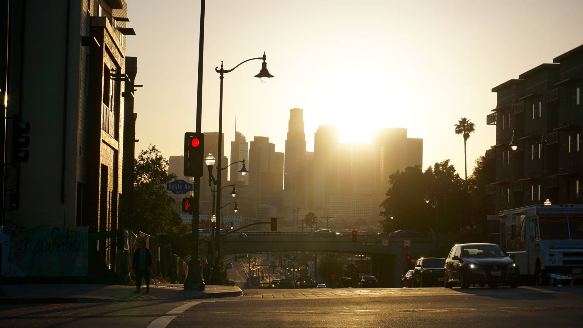 The view of downtown Los Angeles from Boyle Heights. As more neighborhoods in L.A. gentrify and see rents rise, many residents in this largely working-class Latino neighborhood fear their neighborhood could be next. Art galleries have become the focus of concern. Saul Gonzalez/KCRW