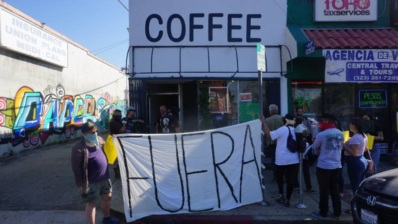 Anti-gentrification activists staged a protest outside Weird Wave Coffee Brewers recently, chanting 'Weird Cafe has got to go.'