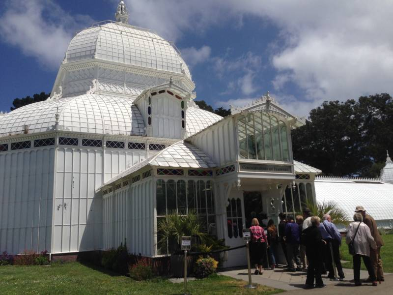 Visitors take advantage of a rare open Monday at the San Francisco Conservatory of Flowers on June 12, 2017.