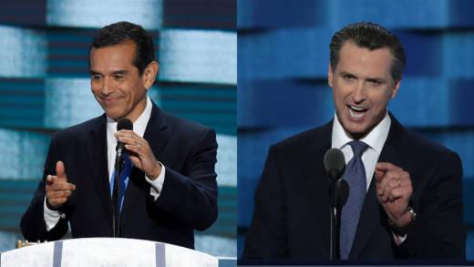 Former Los Angeles Mayor Antonio Villaraigosa (L) and Lt. Gov. Gavin Newsom speak at the Democratic National Convention at the Wells Fargo Center in July 2016 in Philadelphia, Pennsylvania.