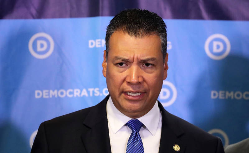 California Secretary of State Alex Padilla speaks at a press conference on July 19, 2017 in Washington, DC.