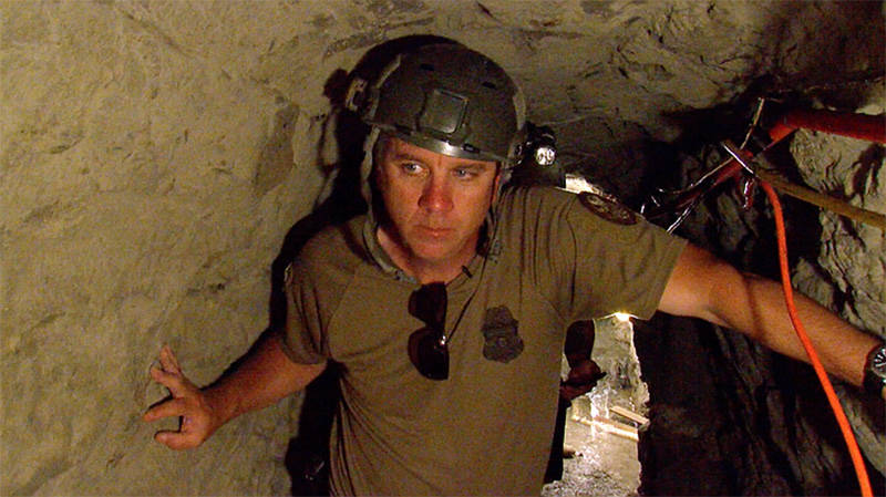 Lance Lenoir of Border Patrol stands inside Galvez Tunnel, June 12, 2017.