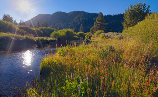 Late afternoon sun hangs over Lower Carpenter Valley near Truckee.