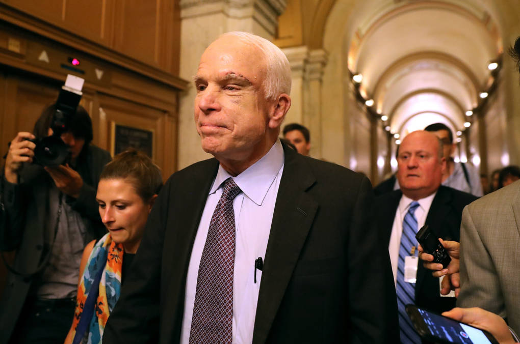 Sen. John McCain leaves the the Senate chamber at the Capitol after voting 'no' on the GOP 'Skinny Repeal' health care bill on July 28, 2017.