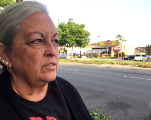 Roanne Weinstein, 59, works full-time but became homeless in January, and has been living in her car on this street in Anaheim for the past six months, along with her 79-year-old mother and two dogs. She hopes the newest homeless program in Orange County, called Bridges, can help her find an affordable place to live.