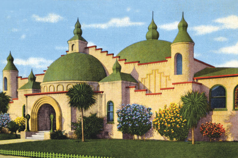 A postcard of the planetarium at Rosicrucian Park, one of the first in the US.