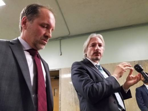 Juan Francisco Lopez Sanchez's defense attorneys Fracisco Ugarte and Matt Gonzales on July 21, 2017 at the San Francisco Hall of Justice.