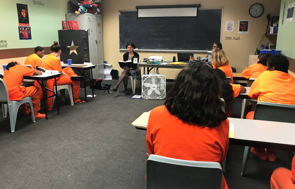 Dr. Carolyn Sufrin reads to female inmates at San Francisco Jail from her book, 'Jailcare.'