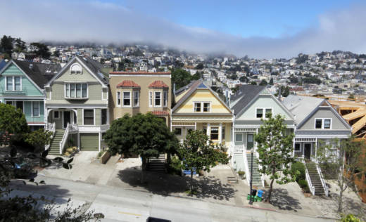 Houses line a street in San Francisco's Mission District. The highest property tax gains are being recorded in the Bay Area, thanks to its red-hot economy and property markets.