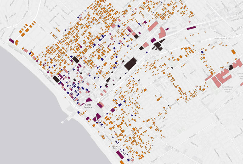 The City of Santa Monica has created a list and searchable map of seismically vulnerable buildings.