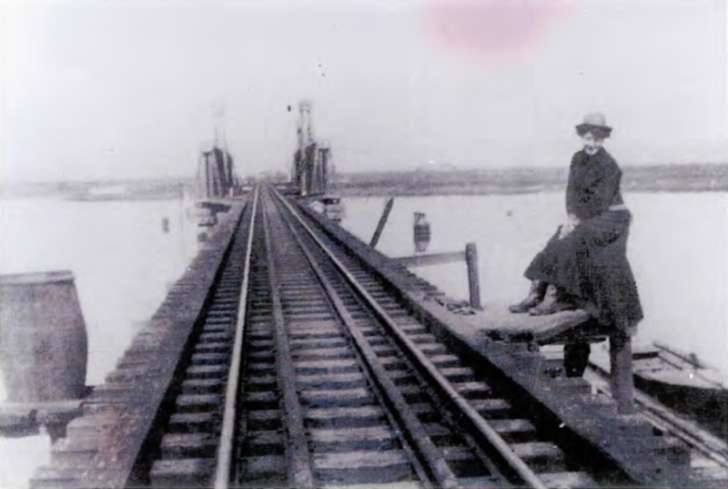This photograph of the bridge over Coyote Creek was taken around 1903. Notice the double set of rails. These were installed as a safety measure in case the train derailed while crossing the creek. This bridge has since been removed and replaced by a trestle. The young lady in the picture in Ann Byrnes.