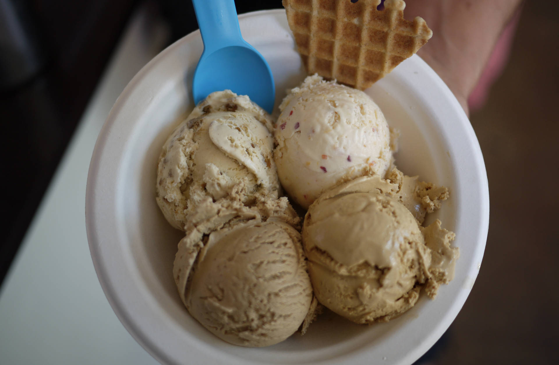 "Sasha's taster ""flight"" of ice cream at Mission Hill Creamery: nectarine, salted caramel, Turkish coffee, and brown sugar gingersnap.  Suzie Racho/KQED"
