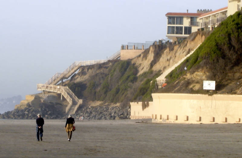 Property owners in Solana Beach have been involved in a protracted legal battle with the city for the right to construct sea walls and shore up fragile beach bluffs that underlay their homes. Such so-called 'armoring' redirects wave action elsewhere, causing unintended harm.