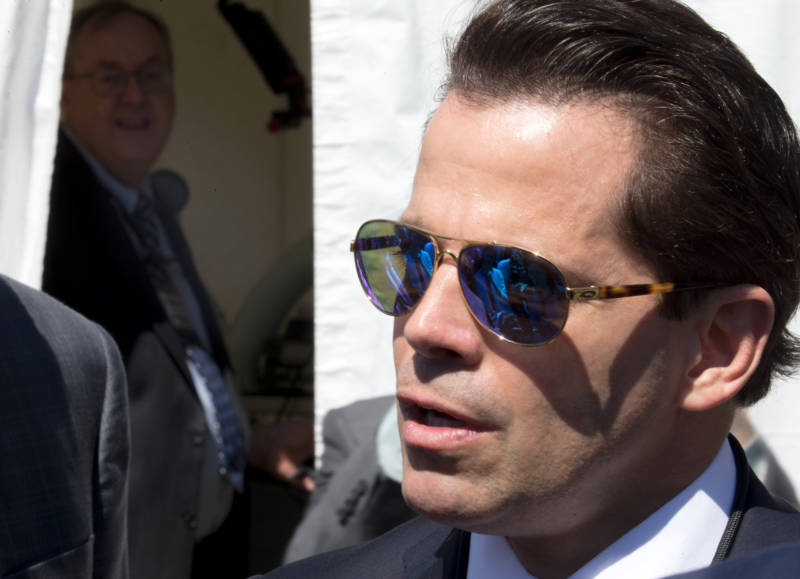 White House Communications Director Anthony Scaramucci talks with the media outside the White House on July 25.