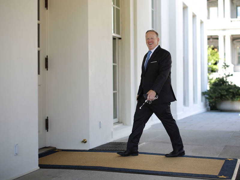 Former White House Press Secretary Sean Spicer entering the White House in July.