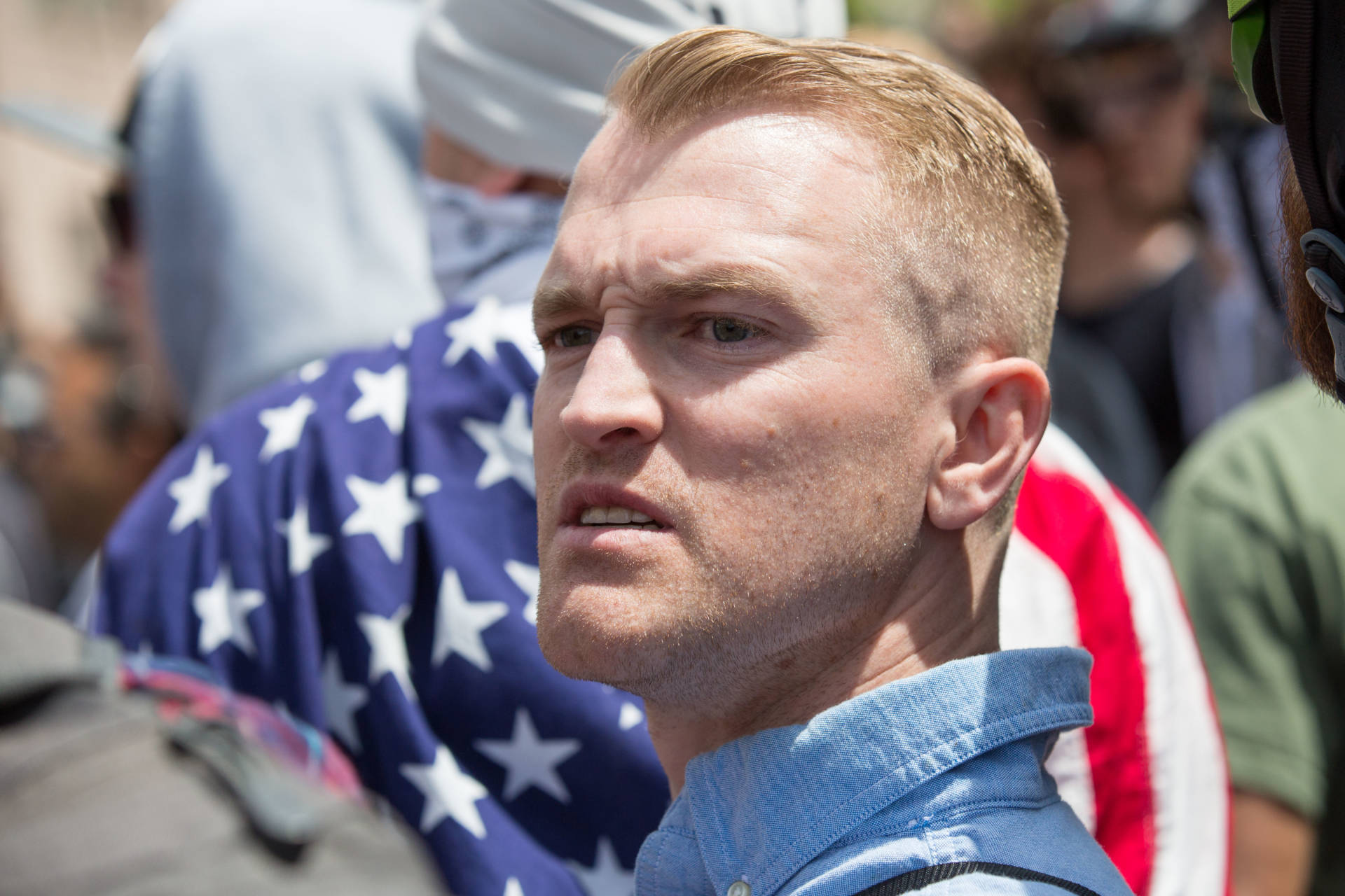 Nathan Damigo, the founder of white nationalist group Identity Evropa, at a right-wing rally in Berkeley on April 15, 2017. He helped organize the white supremacist rally in Charlottesville, Virginia, where one counterprotester was killed on Saturday. Bert Johnson/KQED