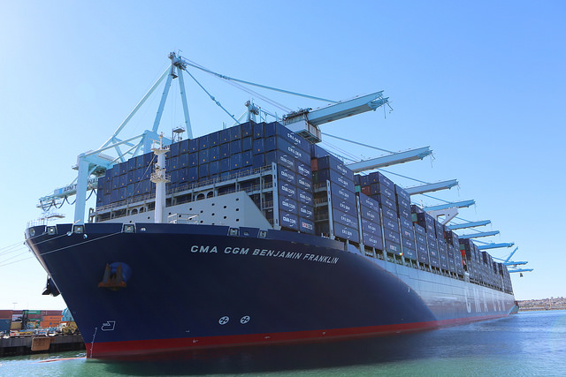"The ""Benjamin Franklin"", a cargo ship capable of carrying 18,000 containers."