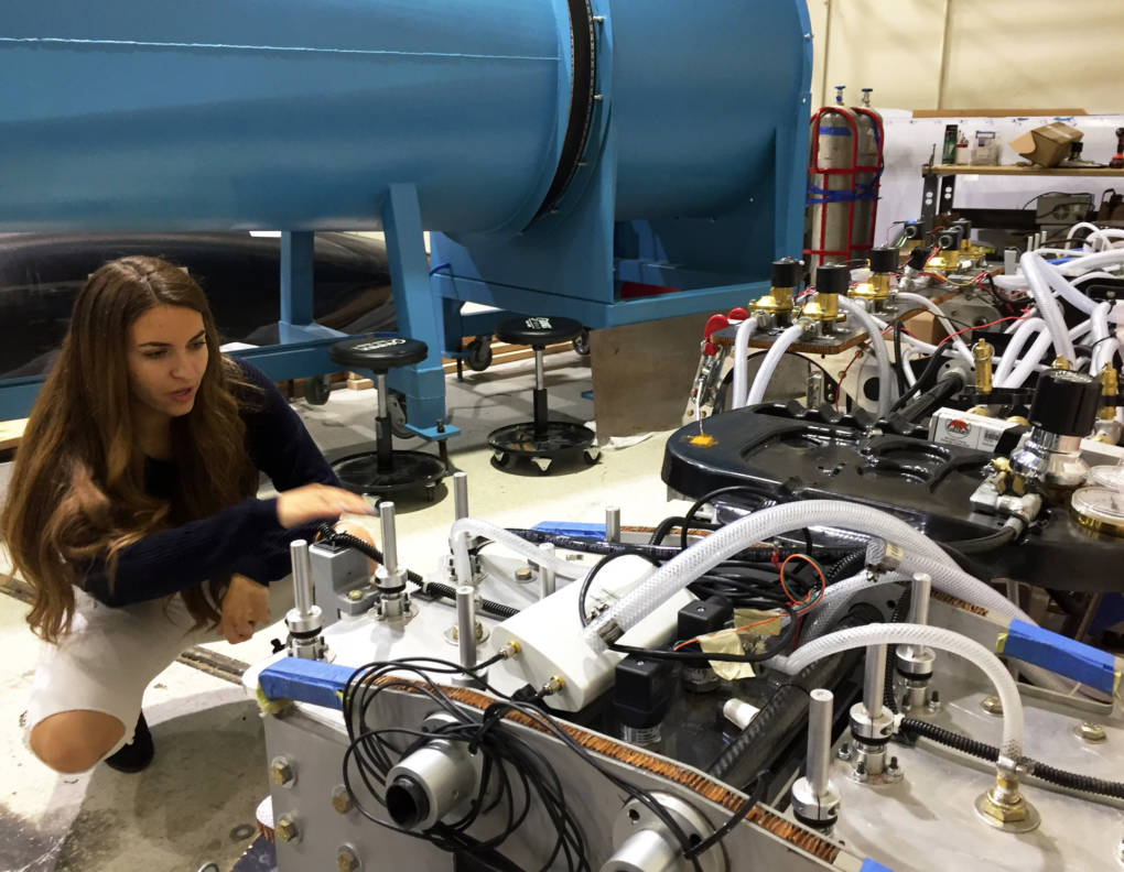 Arwa Tazani, an engineering grad student at UC Irvine, helps design a hyperloop pod to compete in a SpaceX competition Aug. 25-27 in Hawthorne, near Los Angeles.