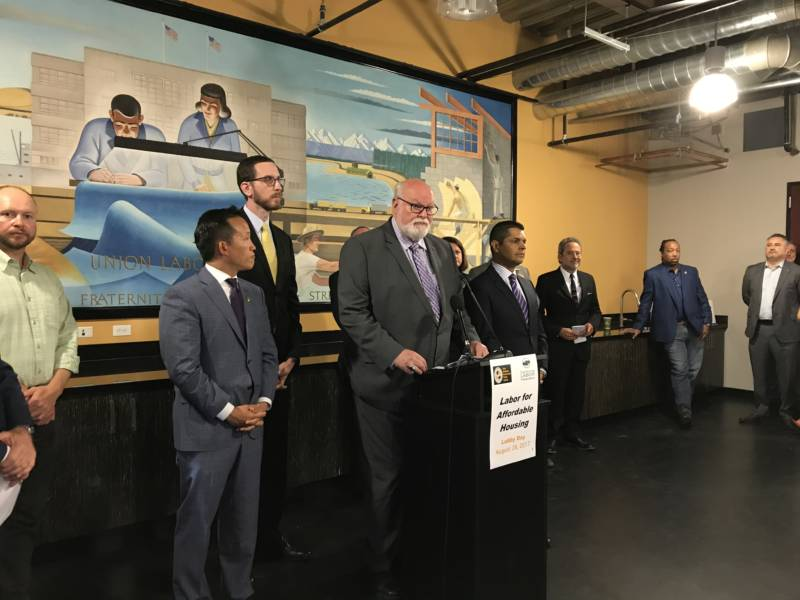 State Senator Jim Beall, D-San Jose, and other Democratic lawmakers make pitch for housing legislation at the State Building and Construction Trades Council in Sacramento, on Monday, August 29.