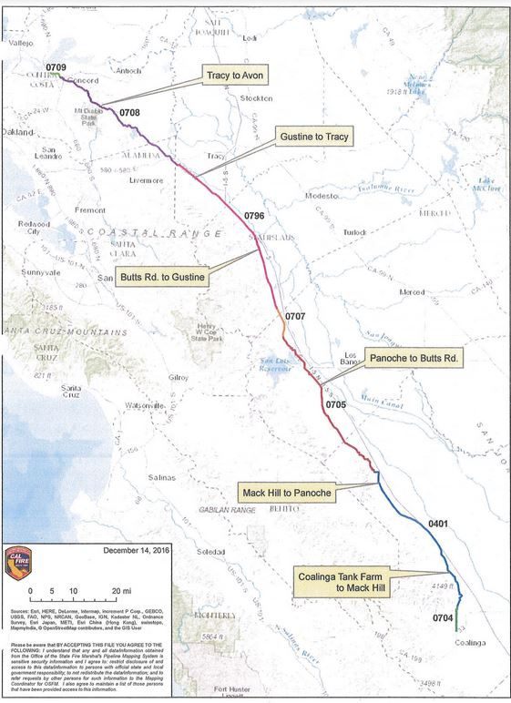 this map shows the length of the shell oil pipeline the break on may 20 2016 occurred between livermore and tracy in east alameda county cal fire