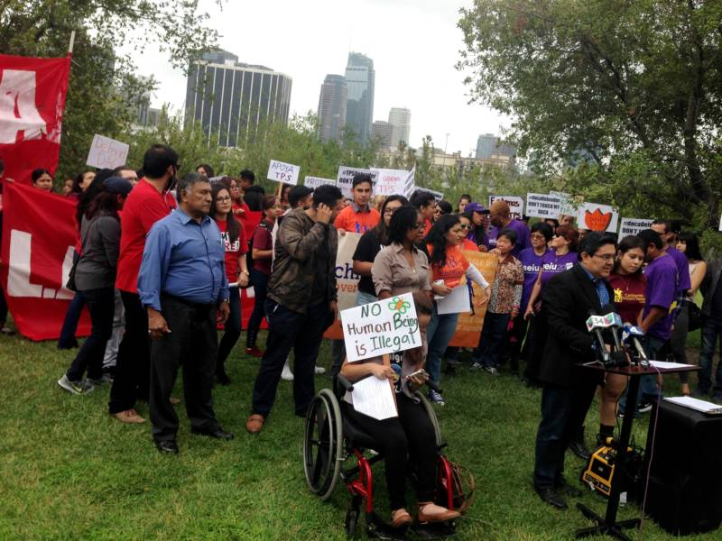 Dozens of young people, parents and politicians rallied in downtown Los Angeles on Tuesday, August 15, 2017, in support of the Obama administration's Deferred Action for Childhood Arrivals program.