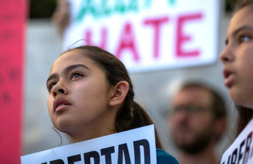 Fatima Avelica, 13, daughter of of Romulo Avelica-Gonzalez, attends a rally with loved ones and supporters for his release outside U.S. Immigration and Customs Enforcement (ICE) offices on March 13, 2017 in Los Angeles.