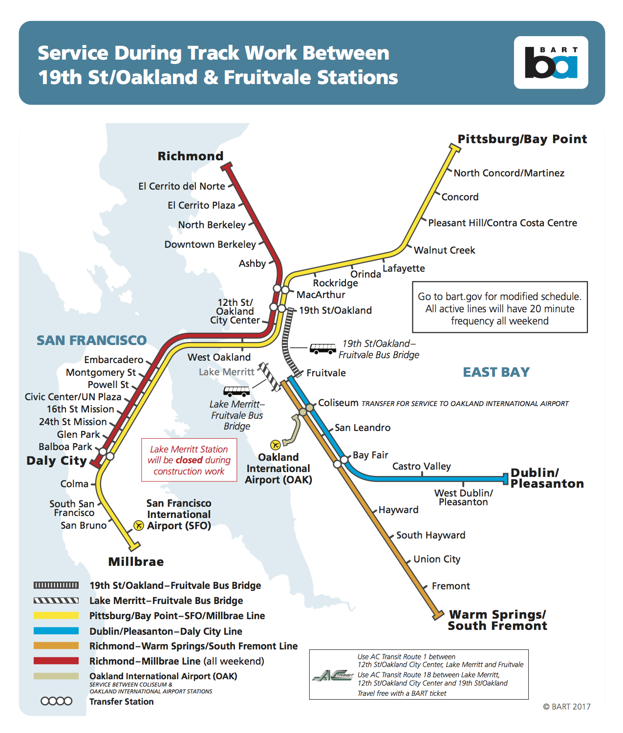 heads up, bart riders: oakland track project will affect service